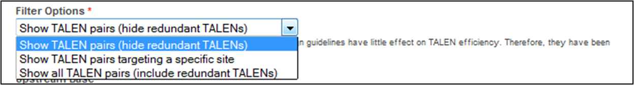 Image showing selecting the option to Find TALEN pairs (hide redundant TALENs)