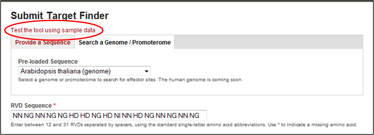 Use the load sample data button to load an RVD sequence.  Select the Ath genome.
