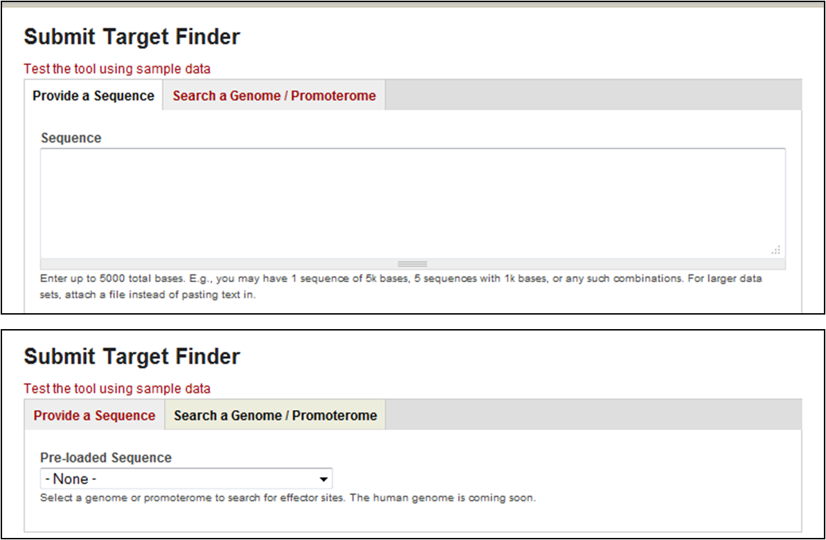 Target Finder offers two search modes.